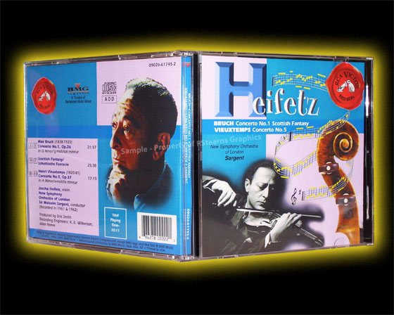 "Link to enlarged image of: Music CD Cover design of Classical violinist, ""Heifetz"""