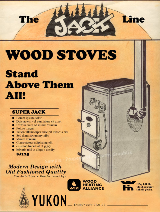 "Link to enlarged image of: Advertising comprehensive layout, ""The Jack Line - Woodstoves"""