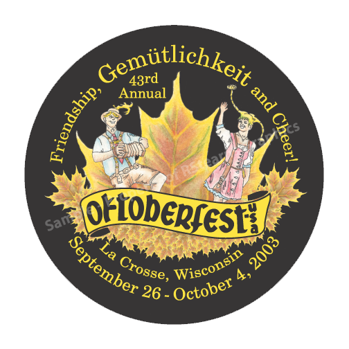 "Link to enlarged image of: Festival button design, ""Octoberfest 2003"""