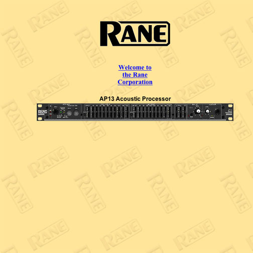 "Link to: Electronics equipment ""Rane"", business web site"